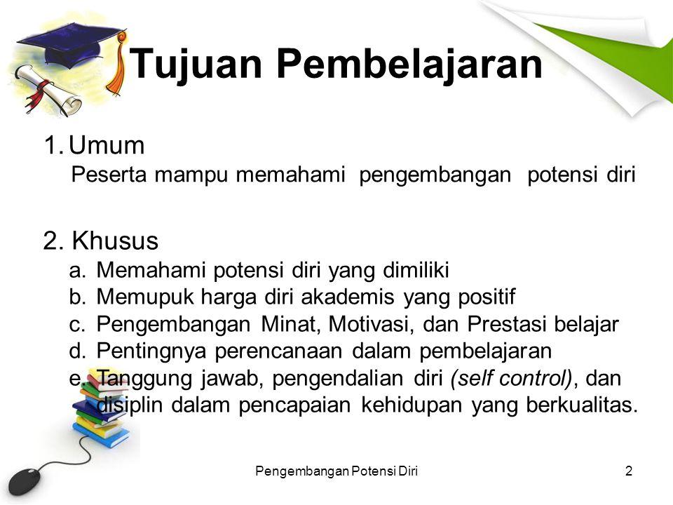 Bahasan Materi Pengembangan Potensi Diri3 1.Pengembangan potensi diri 2.Memupuk harga diri akademis yang positif 3.Pengembangan minat, motivasi, dan prestasi belajar 4.Pentingnya perencanaan dalam pembelajaran (goal setting) 5.Tanggung jawab, pengendalian diri (self control), dan disiplin dalam pencapaian kehidupan yang berkualitas.