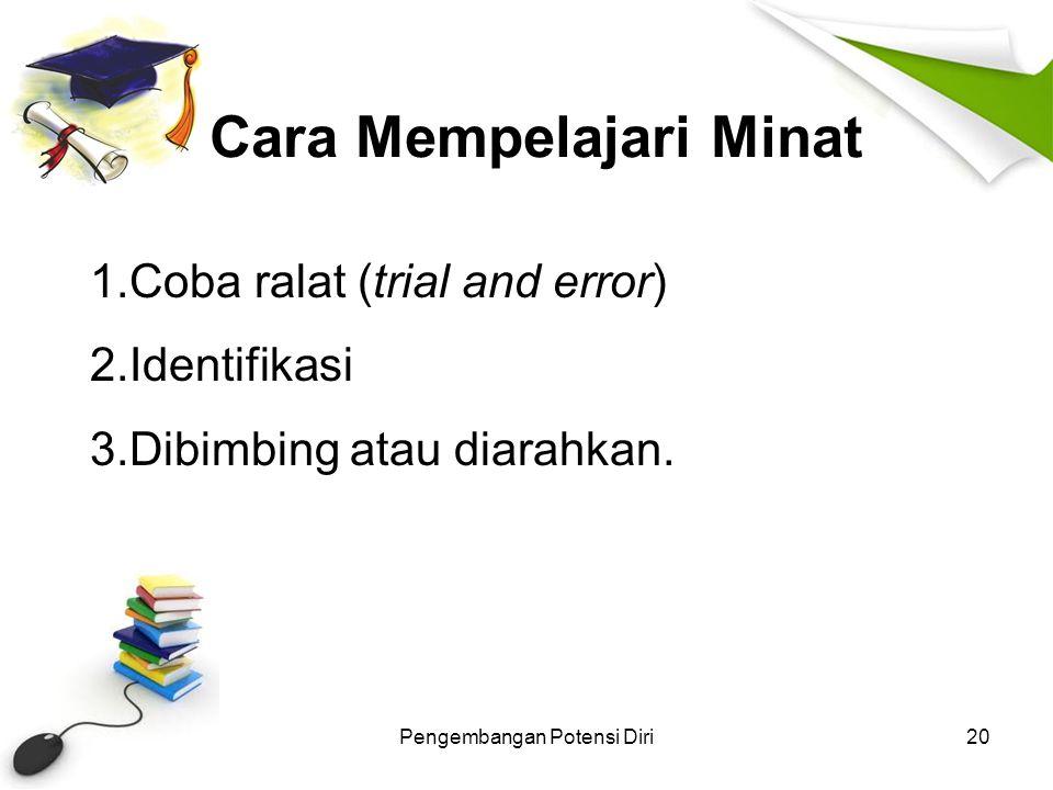 Cara Mempelajari Minat Pengembangan Potensi Diri20 1.Coba ralat (trial and error) 2.Identifikasi 3.Dibimbing atau diarahkan.