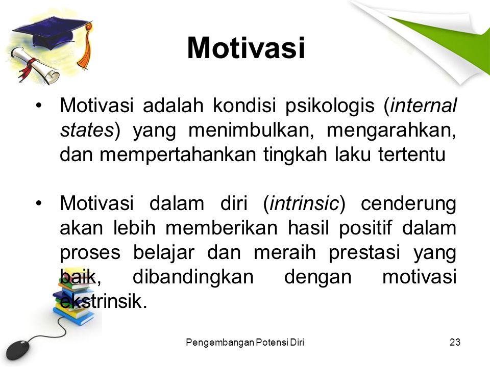 Motivasi Pengembangan Potensi Diri23 Motivasi adalah kondisi psikologis (internal states) yang menimbulkan, mengarahkan, dan mempertahankan tingkah la