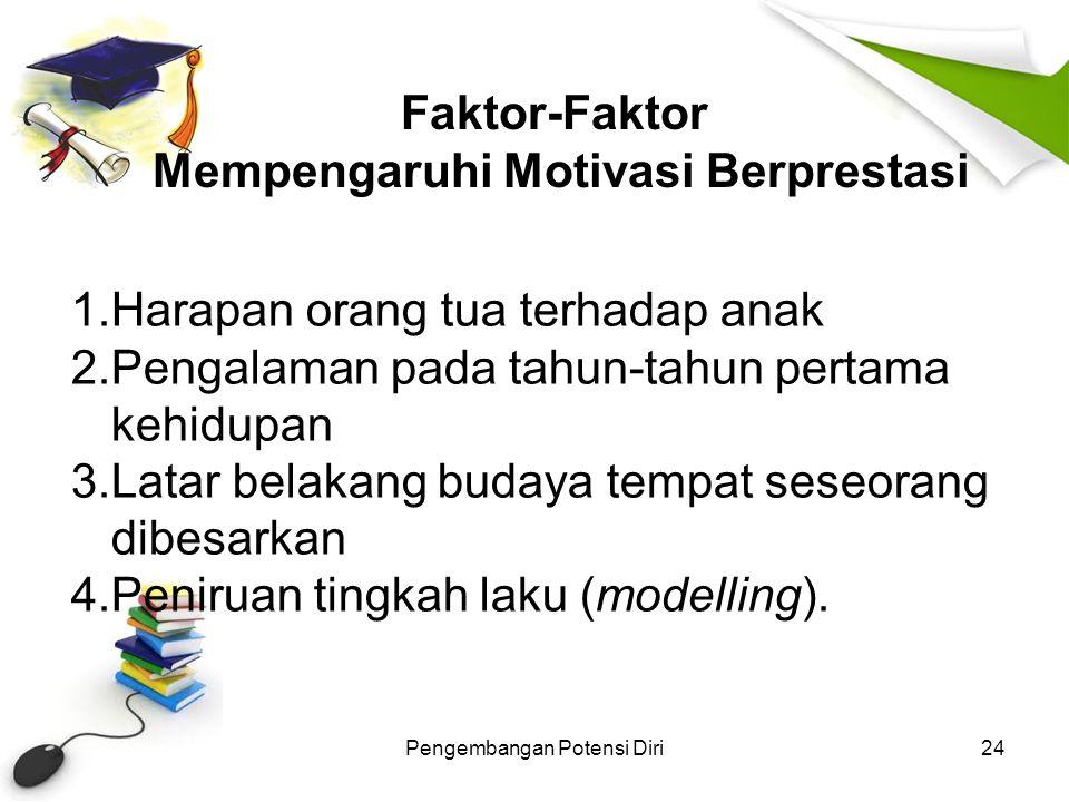 Faktor-Faktor Mempengaruhi Motivasi Berprestasi Pengembangan Potensi Diri24 1.Harapan orang tua terhadap anak 2.Pengalaman pada tahun-tahun pertama ke