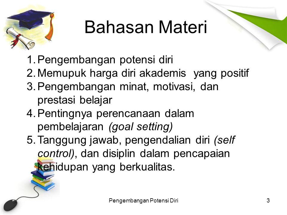 Bahasan Materi Pengembangan Potensi Diri3 1.Pengembangan potensi diri 2.Memupuk harga diri akademis yang positif 3.Pengembangan minat, motivasi, dan p