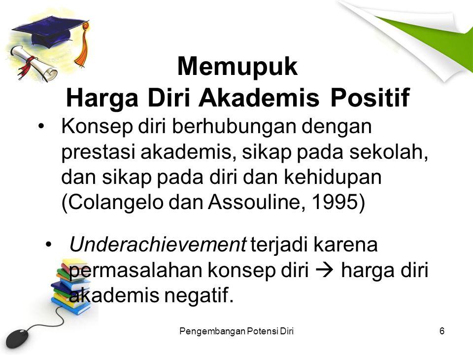 Pengembangan Potensi Diri7 Konsep diri yang positif diharapkan bisa membantu individu dalam menampilkan seluruh potensi yang ada pada dirinya.