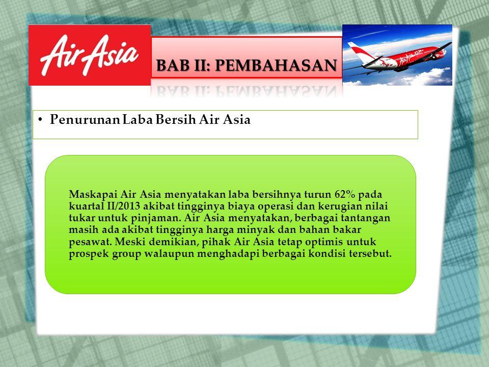Maskapai Air Asia menyatakan laba bersihnya turun 62% pada kuartal II/2013 akibat tingginya biaya operasi dan kerugian nilai tukar untuk pinjaman.
