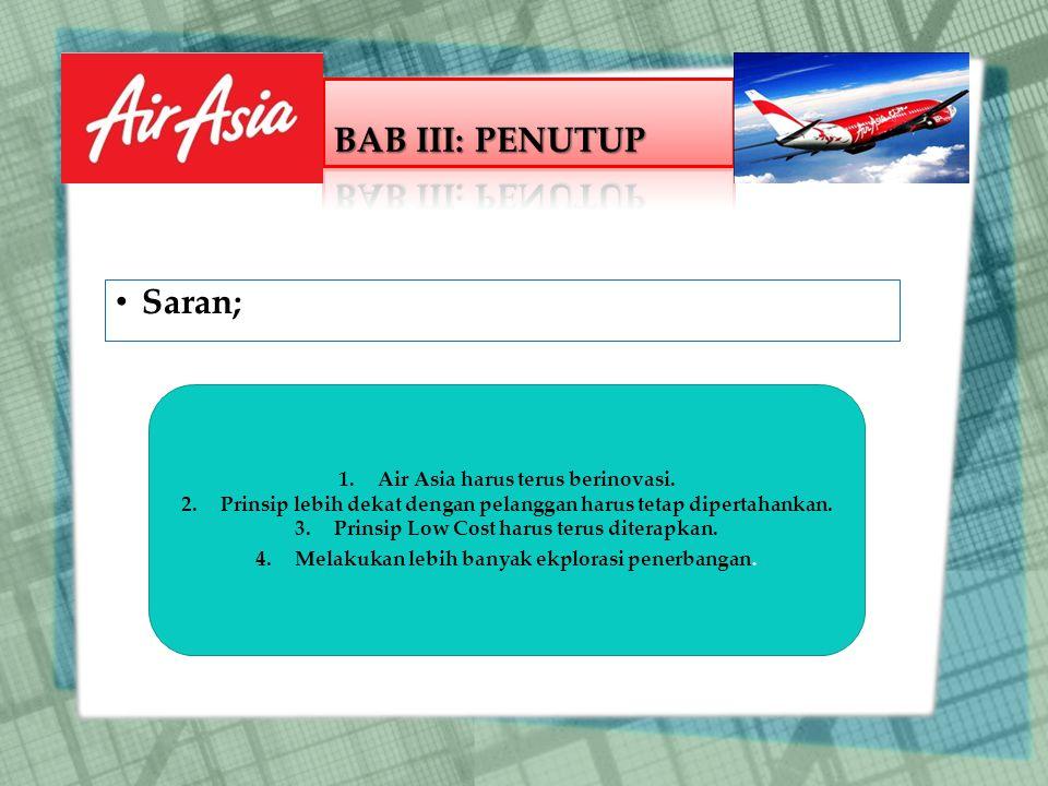 Saran; 1.Air Asia harus terus berinovasi.