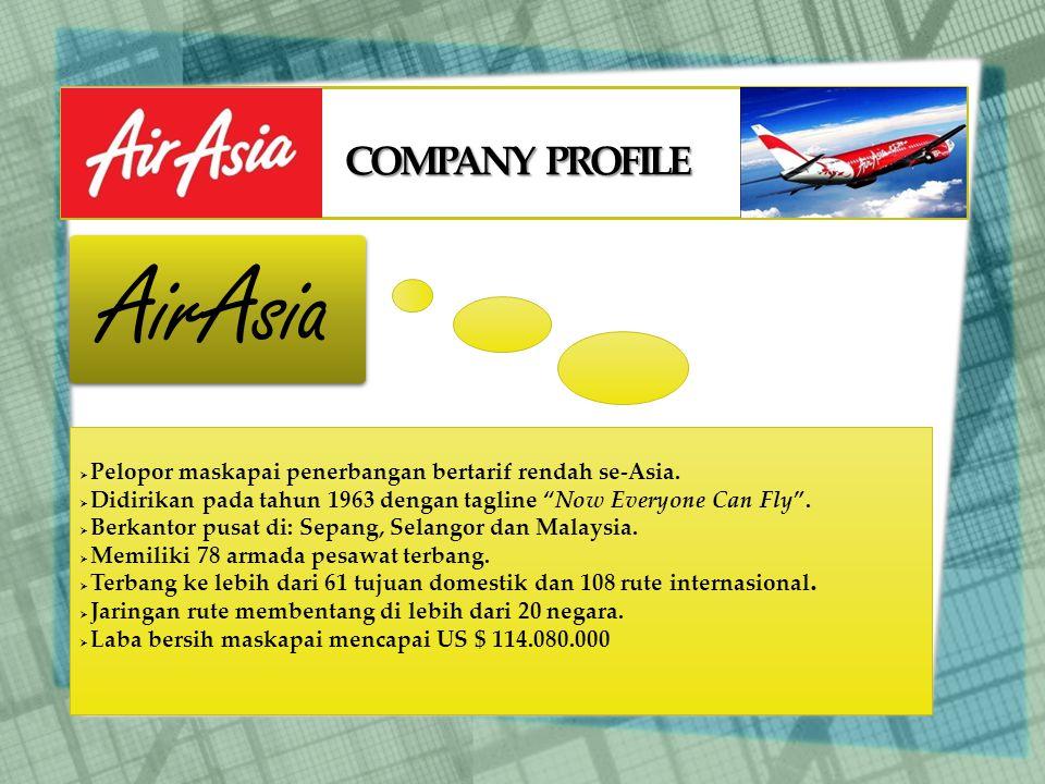 COMPANY PROFILE AirAsia  Pelopor maskapai penerbangan bertarif rendah se-Asia.