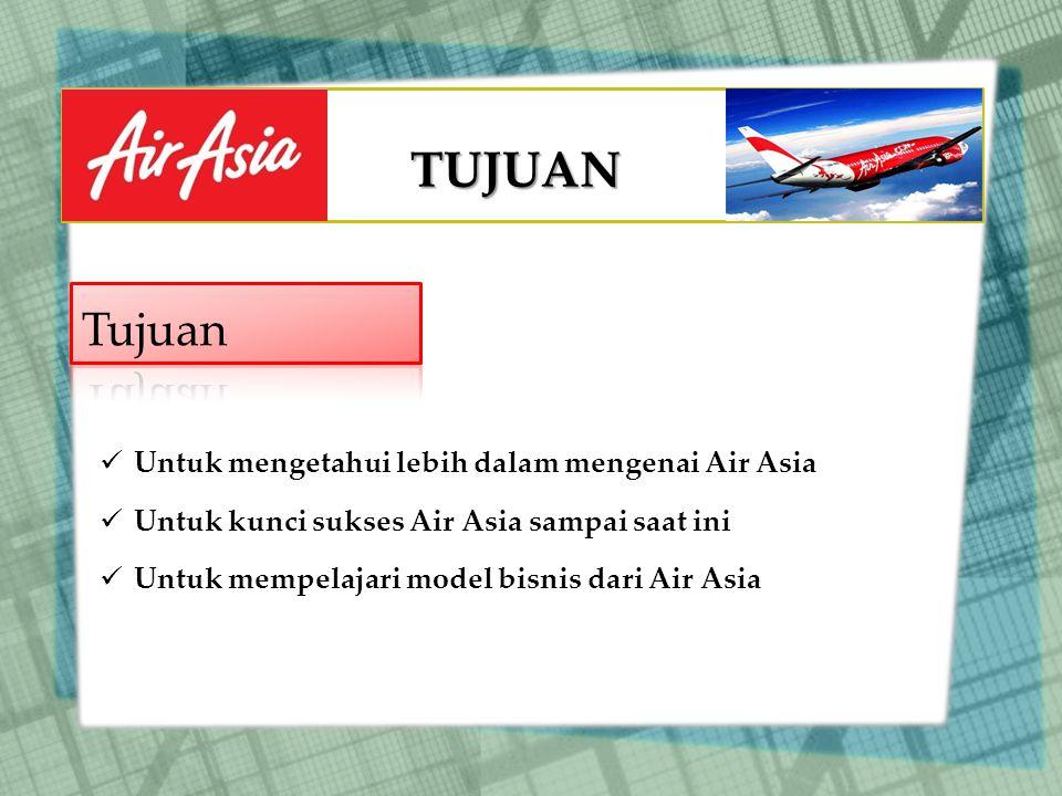 TUJUAN Untuk mengetahui lebih dalam mengenai Air Asia Untuk kunci sukses Air Asia sampai saat ini Untuk mempelajari model bisnis dari Air Asia