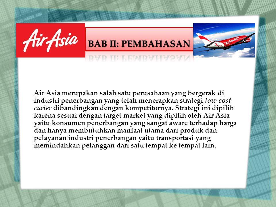 Air Asia merupakan salah satu perusahaan yang bergerak di industri penerbangan yang telah menerapkan strategi low cost carier dibandingkan dengan kompetitornya.