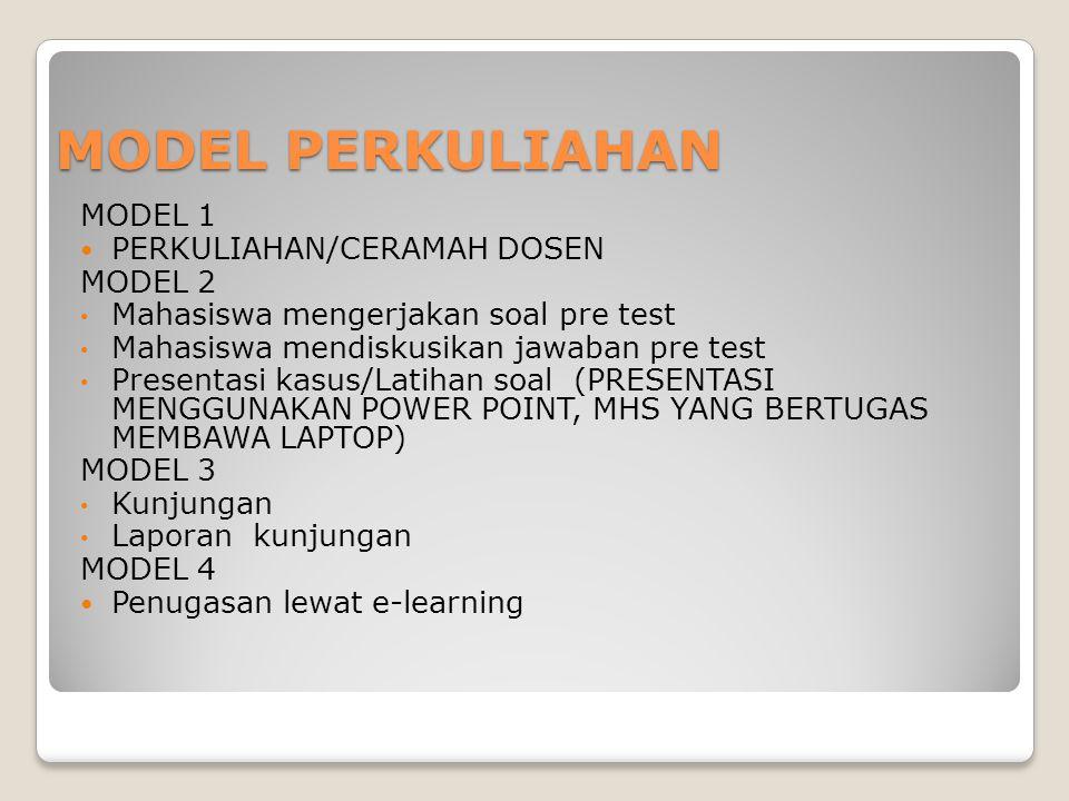 MODEL PERKULIAHAN MODEL 1 PERKULIAHAN/CERAMAH DOSEN MODEL 2 Mahasiswa mengerjakan soal pre test Mahasiswa mendiskusikan jawaban pre test Presentasi ka