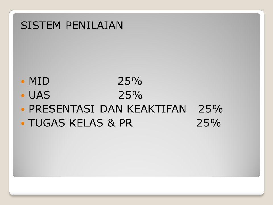 SISTEM PENILAIAN MID 25% UAS 25% PRESENTASI DAN KEAKTIFAN 25% TUGAS KELAS & PR 25%
