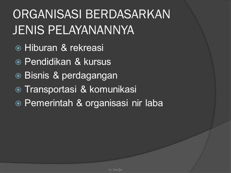 ORGANISASI BERDASARKAN JENIS PELAYANANNYA  Hiburan & rekreasi  Pendidikan & kursus  Bisnis & perdagangan  Transportasi & komunikasi  Pemerintah &