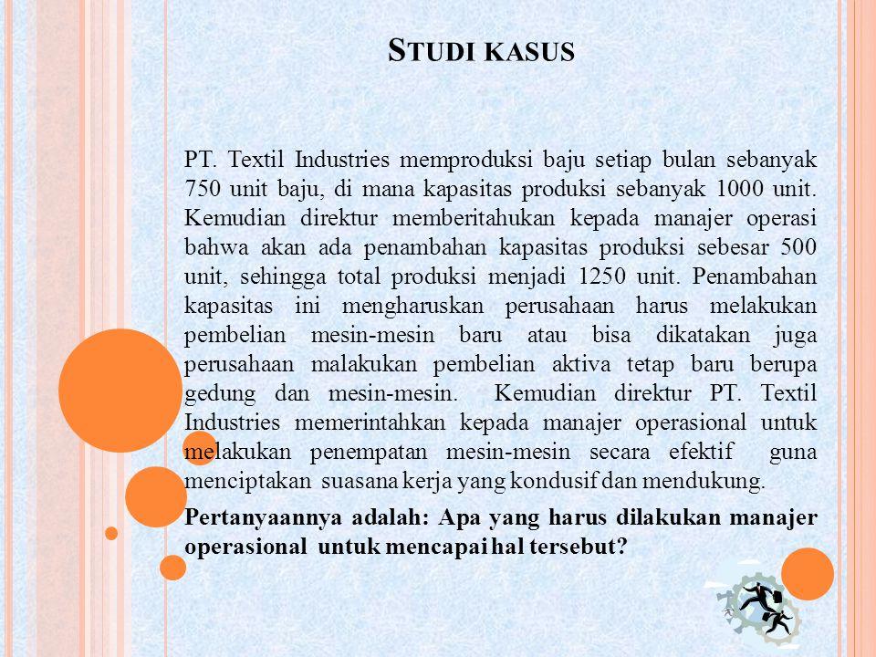 S TUDI KASUS PT. Textil Industries memproduksi baju setiap bulan sebanyak 750 unit baju, di mana kapasitas produksi sebanyak 1000 unit. Kemudian direk