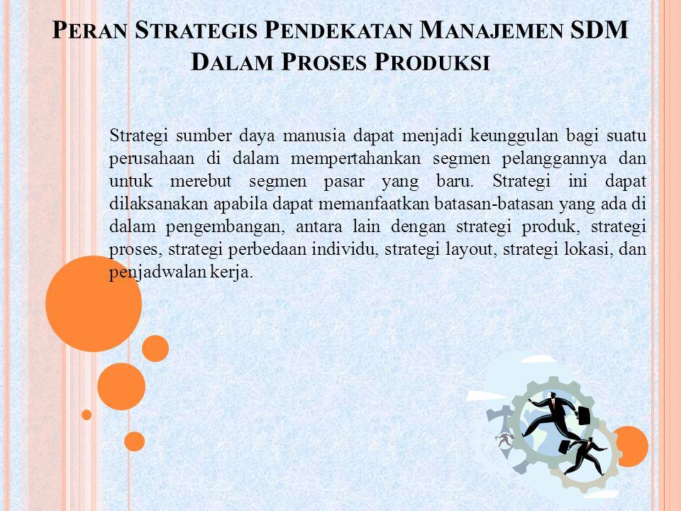 P ERAN S TRATEGIS P ENDEKATAN M ANAJEMEN SDM D ALAM P ROSES P RODUKSI Strategi sumber daya manusia dapat menjadi keunggulan bagi suatu perusahaan di d