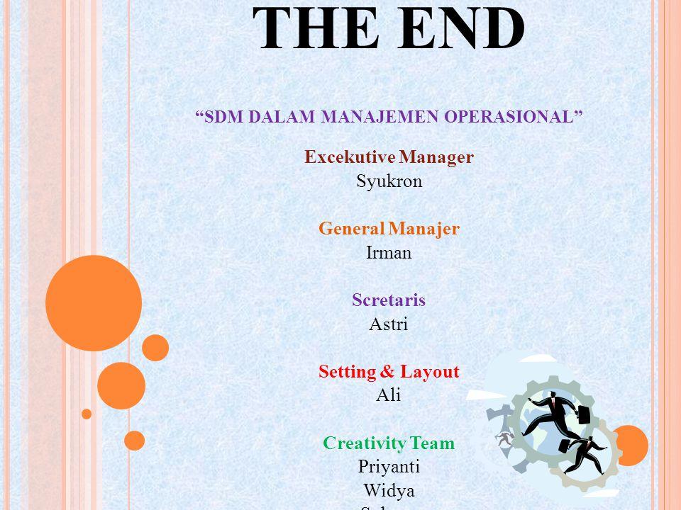 """THE END """"SDM DALAM MANAJEMEN OPERASIONAL"""" Excekutive Manager Syukron General Manajer Irman Scretaris Astri Setting & Layout Ali Creativity Team Priyan"""