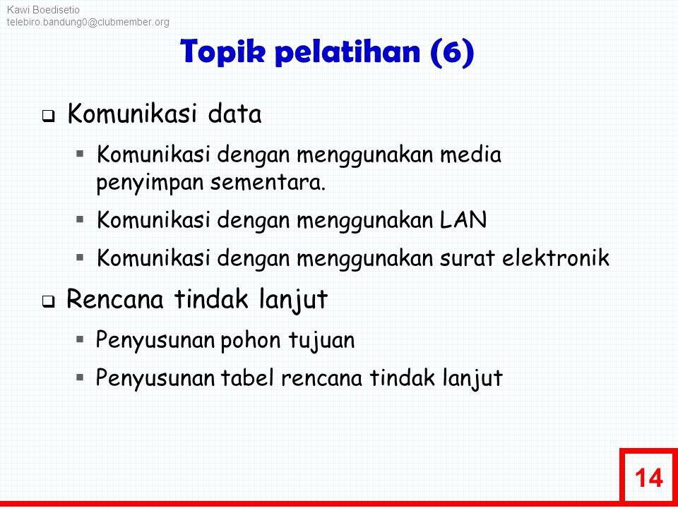 14 Topik pelatihan (6)  Komunikasi data  Komunikasi dengan menggunakan media penyimpan sementara.  Komunikasi dengan menggunakan LAN  Komunikasi d