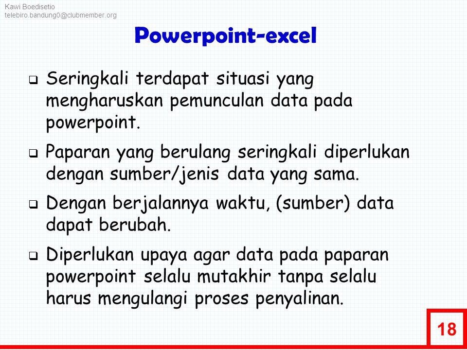 18 Powerpoint-excel  Seringkali terdapat situasi yang mengharuskan pemunculan data pada powerpoint.  Paparan yang berulang seringkali diperlukan den
