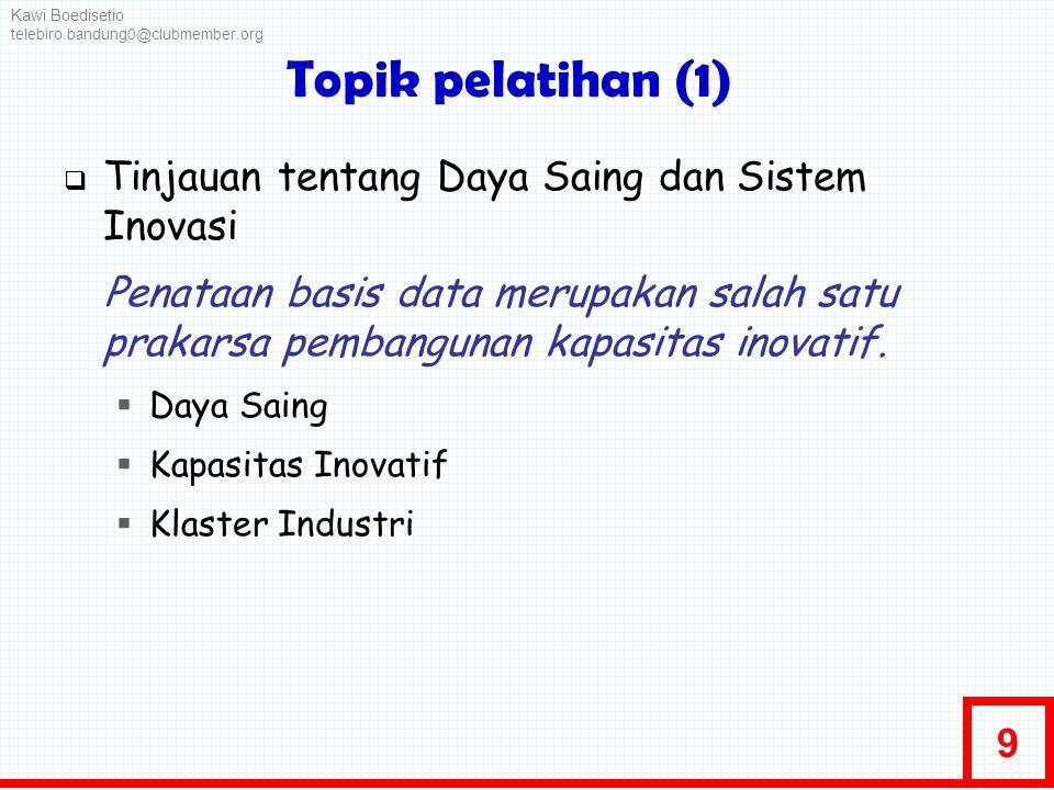 9 Topik pelatihan (1)  Tinjauan tentang Daya Saing dan Sistem Inovasi Penataan basis data merupakan salah satu prakarsa pembangunan kapasitas inovati