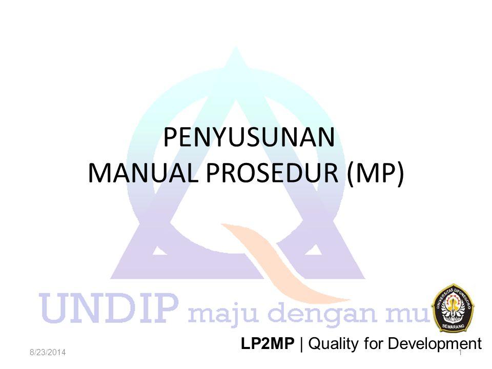 PENYUSUNAN MANUAL PROSEDUR (MP) 8/23/20141 LP2MP | Quality for Development