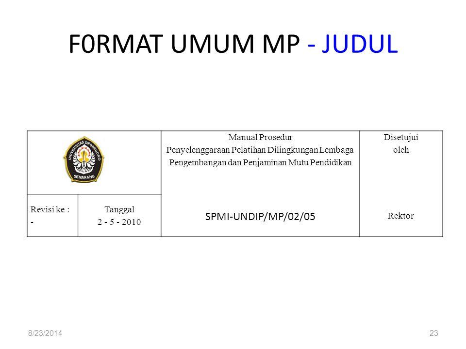 F0RMAT UMUM MP - JUDUL 8/23/201423 Manual Prosedur Penyelenggaraan Pelatihan Dilingkungan Lembaga Pengembangan dan Penjaminan Mutu Pendidikan Disetuju
