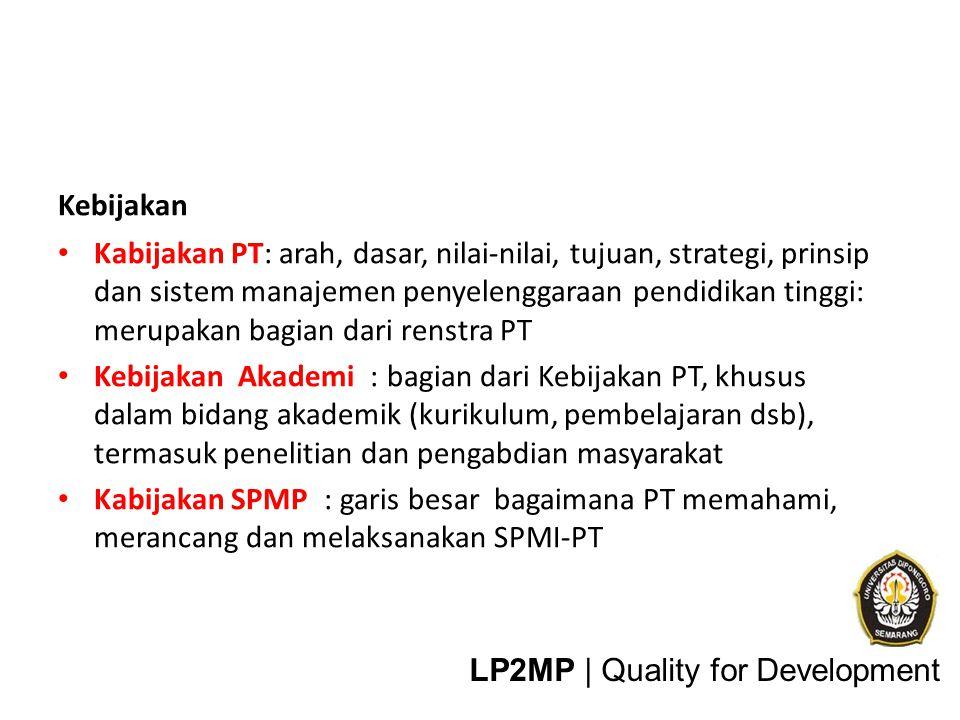 Manual SPMI-PT (SPM-PT): rincian tentang apa saja, siapa, bagaimana dan kapan Manual Penetapan Standar Manual Pemenuhan/pelaksanaan standar Manual Pengendalian Standar Manual Pengembangan/peningkatan Standar LP2MP | Quality for Development
