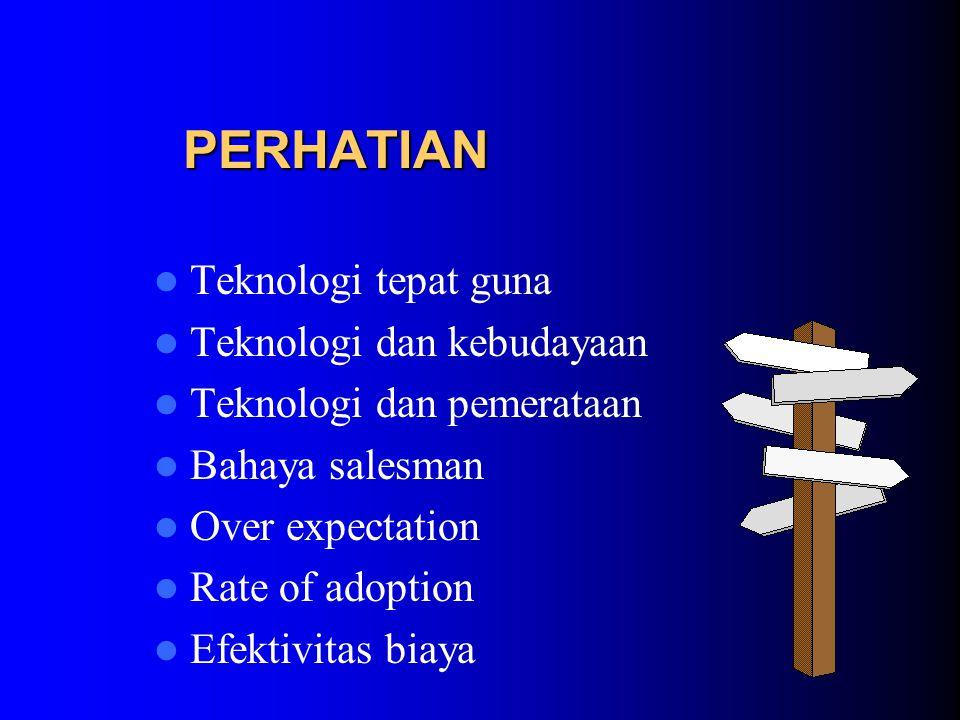 PERHATIAN Teknologi tepat guna Teknologi dan kebudayaan Teknologi dan pemerataan Bahaya salesman Over expectation Rate of adoption Efektivitas biaya
