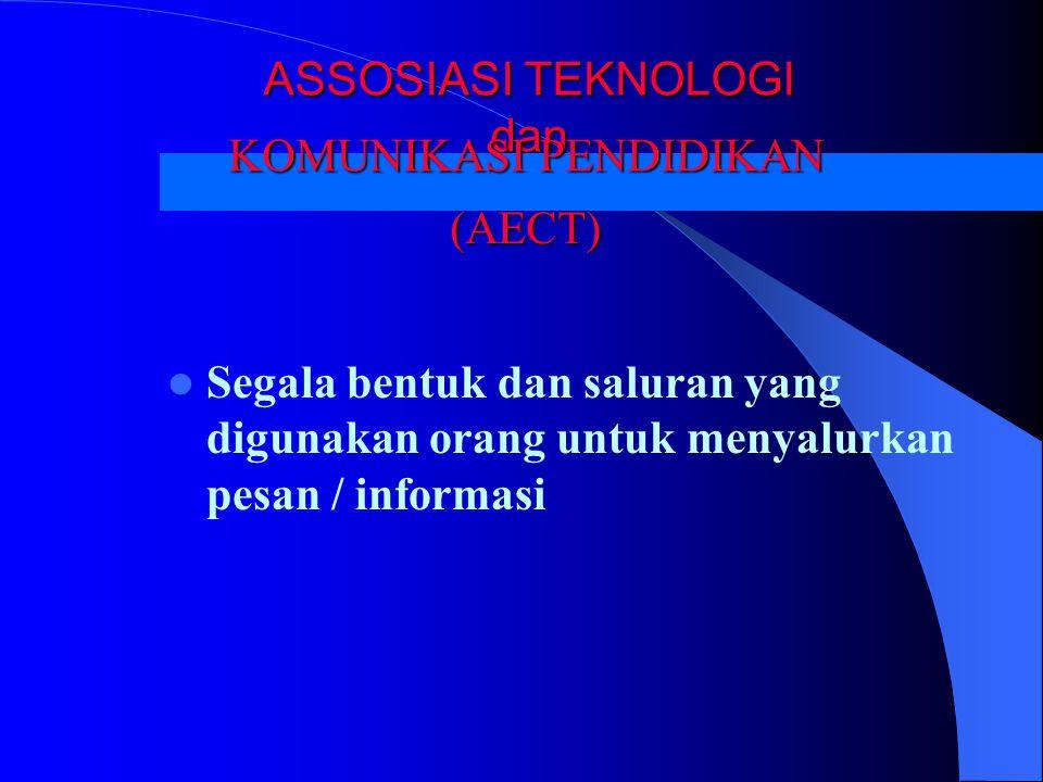 ASSOSIASI TEKNOLOGI dan Segala bentuk dan saluran yang digunakan orang untuk menyalurkan pesan / informasi KOMUNIKASI PENDIDIKAN KOMUNIKASI PENDIDIKAN (AECT)
