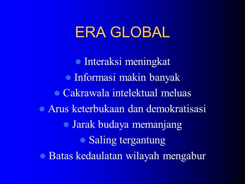ERA GLOBAL Interaksi meningkat Informasi makin banyak Cakrawala intelektual meluas Arus keterbukaan dan demokratisasi Jarak budaya memanjang Saling tergantung Batas kedaulatan wilayah mengabur