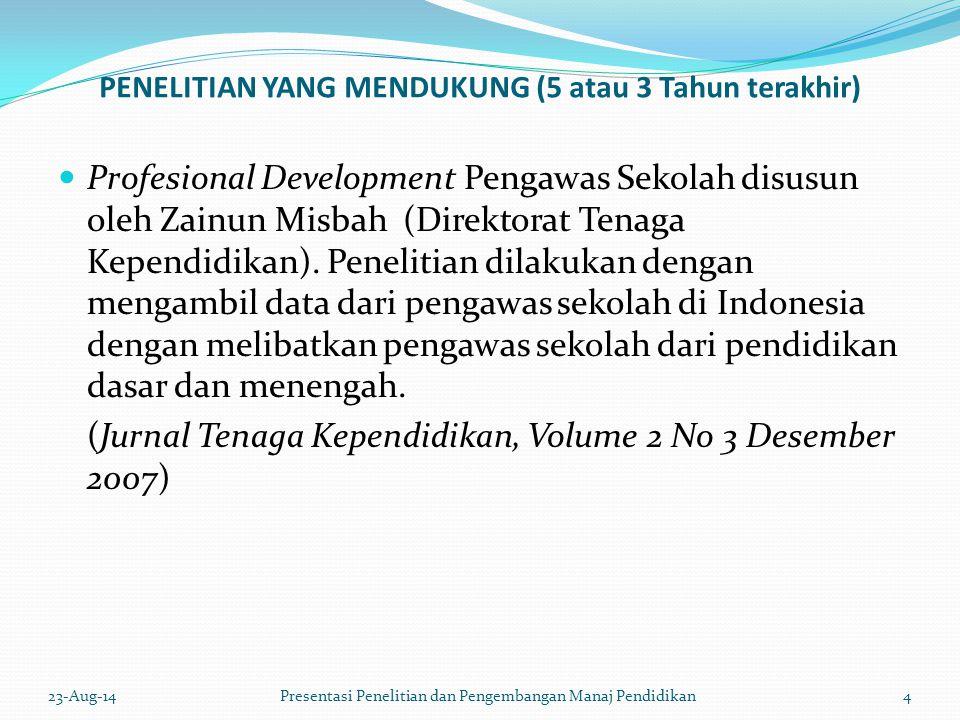 PENELITIAN YANG MENDUKUNG (5 atau 3 Tahun terakhir) Profesional Development Pengawas Sekolah disusun oleh Zainun Misbah (Direktorat Tenaga Kependidikan).