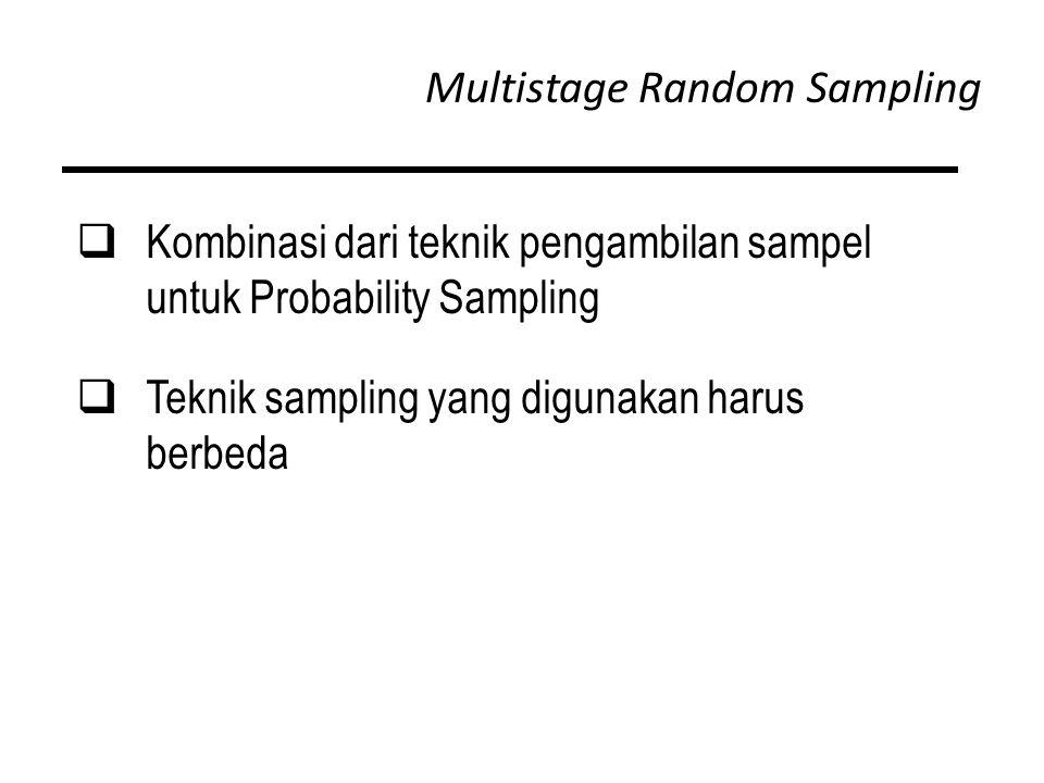 Multistage Random Sampling  Kombinasi dari teknik pengambilan sampel untuk Probability Sampling  Teknik sampling yang digunakan harus berbeda