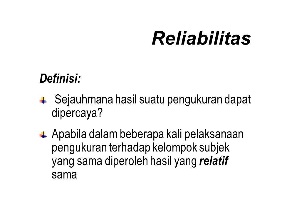 Reliabilitas Definisi: Sejauhmana hasil suatu pengukuran dapat dipercaya.
