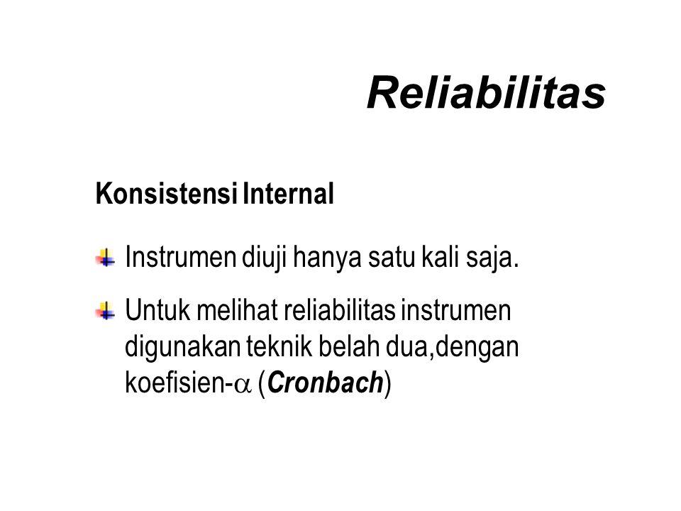 Reliabilitas Konsistensi Internal Instrumen diuji hanya satu kali saja.