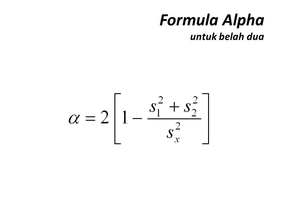 Formula Alpha untuk belah dua