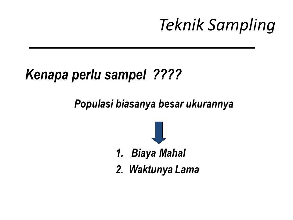 Teknik Sampling Kenapa perlu sampel . Populasi biasanya besar ukurannya 1.