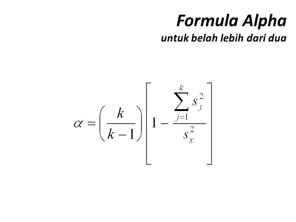 Formula Alpha untuk belah lebih dari dua