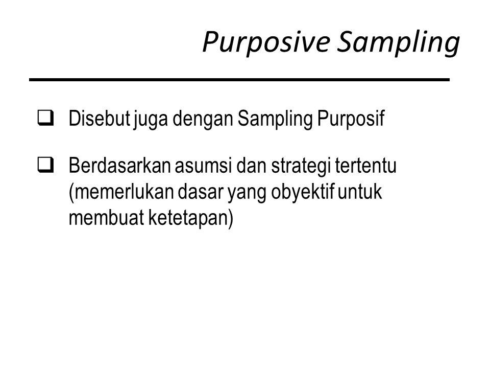 Purposive Sampling  Disebut juga dengan Sampling Purposif  Berdasarkan asumsi dan strategi tertentu (memerlukan dasar yang obyektif untuk membuat ketetapan)