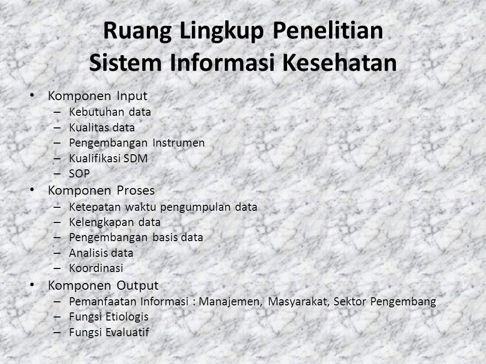 Ruang Lingkup Penelitian Sistem Informasi Kesehatan Komponen Input – Kebutuhan data – Kualitas data – Pengembangan Instrumen – Kualifikasi SDM – SOP Komponen Proses – Ketepatan waktu pengumpulan data – Kelengkapan data – Pengembangan basis data – Analisis data – Koordinasi Komponen Output – Pemanfaatan Informasi : Manajemen, Masyarakat, Sektor Pengembang – Fungsi Etiologis – Fungsi Evaluatif