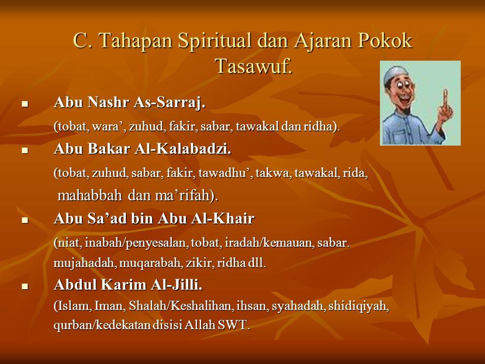 C. Tahapan Spiritual dan Ajaran Pokok Tasawuf. Abu Nashr As-Sarraj. Abu Nashr As-Sarraj. (tobat, wara', zuhud, fakir, sabar, tawakal dan ridha). Abu B