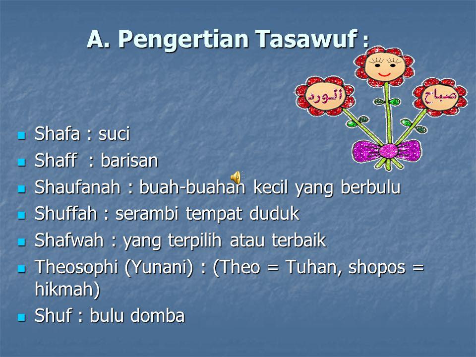 A. Pengertian Tasawuf : Shafa : suci Shafa : suci Shaff : barisan Shaff : barisan Shaufanah : buah-buahan kecil yang berbulu Shaufanah : buah-buahan k