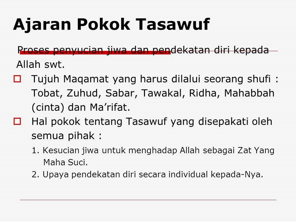 Ajaran Pokok Tasawuf Proses penyucian jiwa dan pendekatan diri kepada Allah swt.  Tujuh Maqamat yang harus dilalui seorang shufi : Tobat, Zuhud, Saba