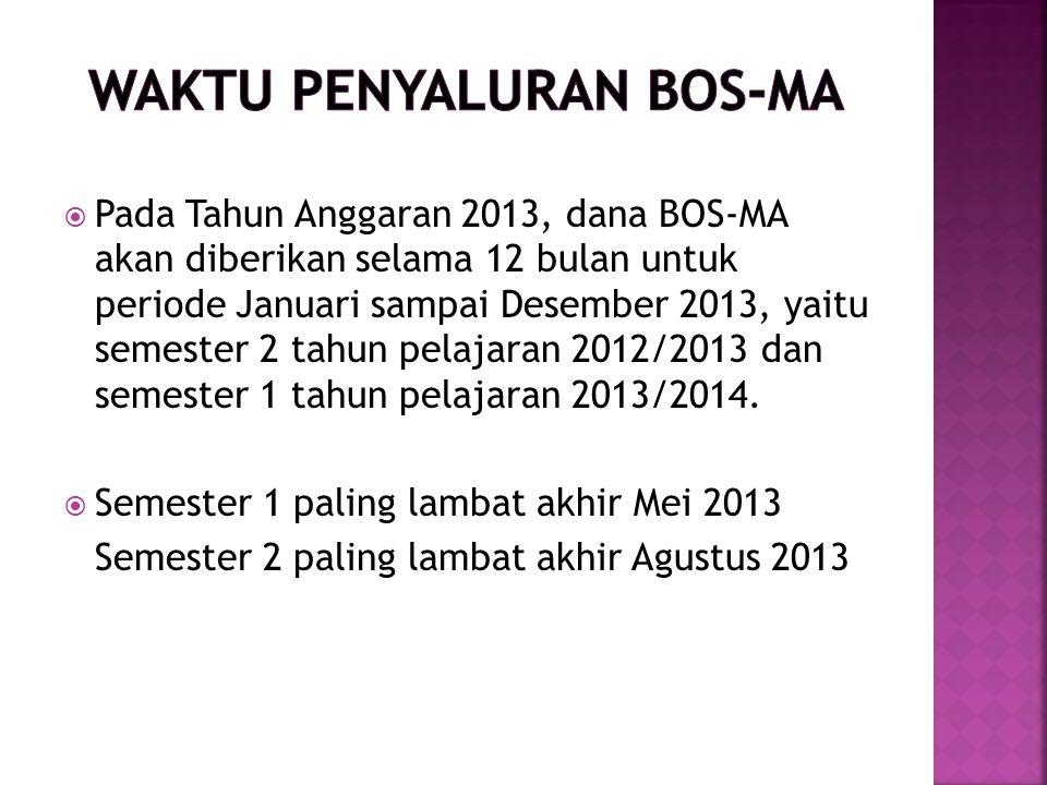  Pada Tahun Anggaran 2013, dana BOS-MA akan diberikan selama 12 bulan untuk periode Januari sampai Desember 2013, yaitu semester 2 tahun pelajaran 20