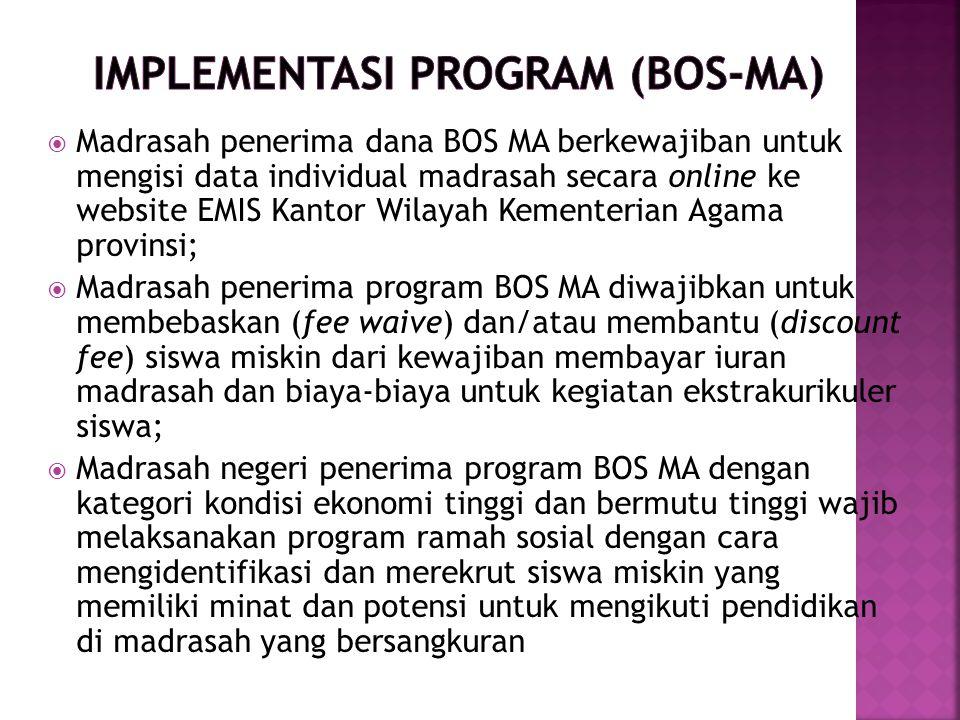  Madrasah penerima dana BOS MA berkewajiban untuk mengisi data individual madrasah secara online ke website EMIS Kantor Wilayah Kementerian Agama pro