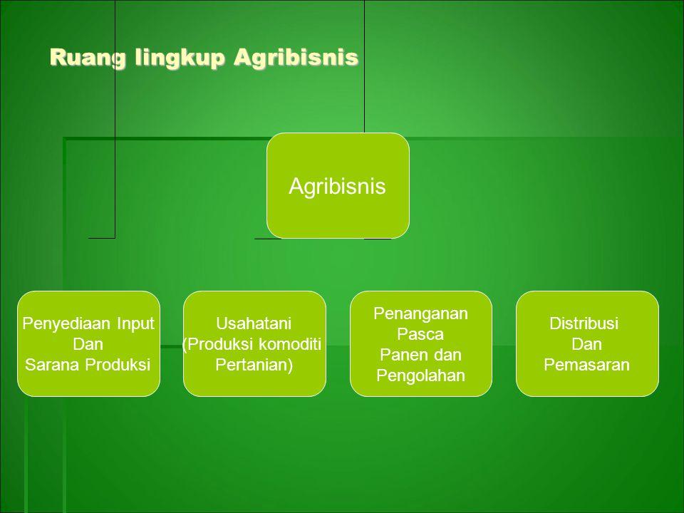 Ruang lingkup Agribisnis Ruang lingkup Agribisnis Agribisnis Penyediaan Input Dan Sarana Produksi Usahatani (Produksi komoditi Pertanian) Penanganan P