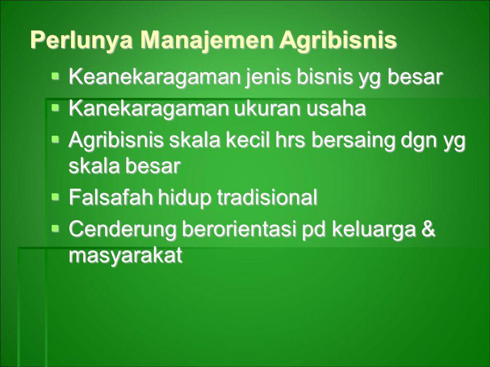 Perlunya Manajemen Agribisnis  Keanekaragaman jenis bisnis yg besar  Kanekaragaman ukuran usaha  Agribisnis skala kecil hrs bersaing dgn yg skala besar  Falsafah hidup tradisional  Cenderung berorientasi pd keluarga & masyarakat