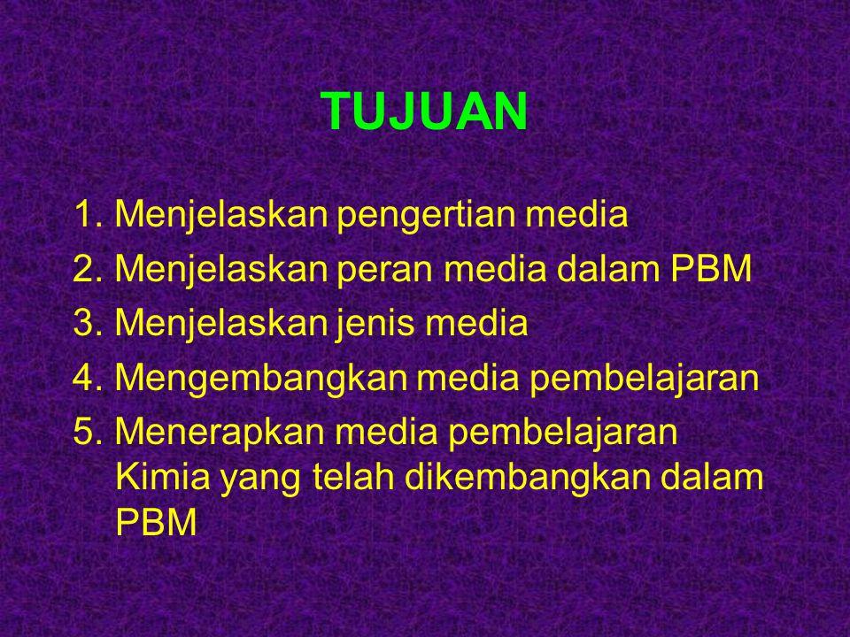 TUJUAN 1. Menjelaskan pengertian media 2. Menjelaskan peran media dalam PBM 3. Menjelaskan jenis media 4. Mengembangkan media pembelajaran 5. Menerapk