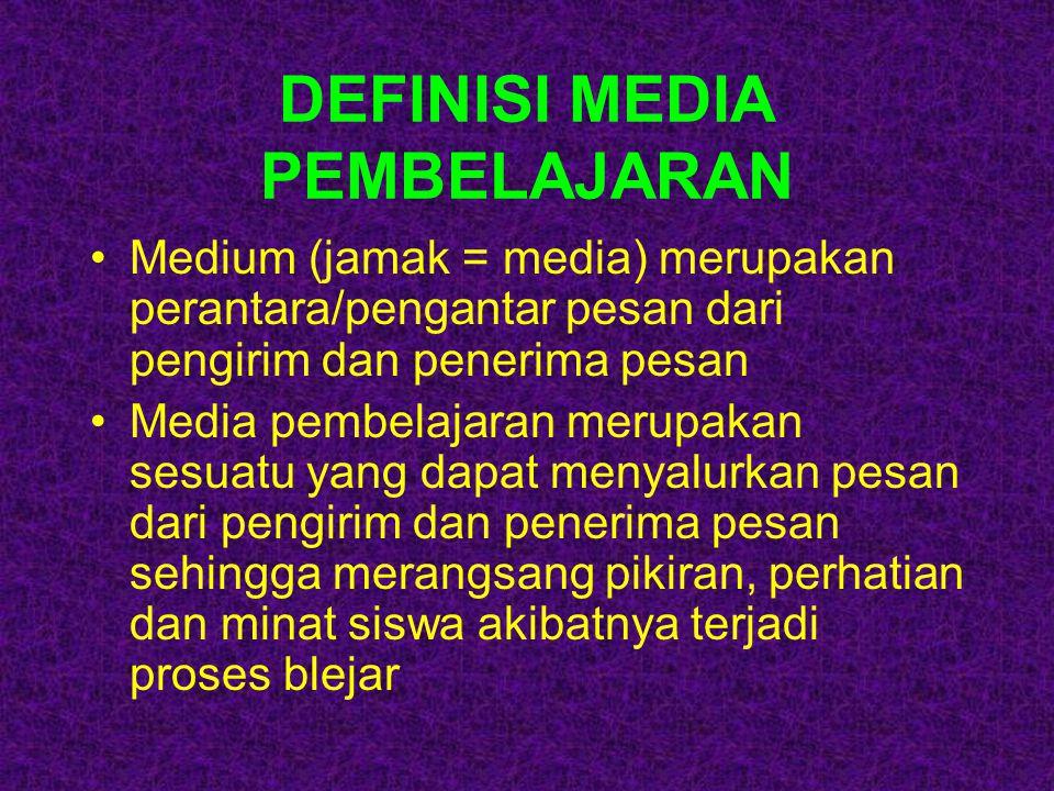 DEFINISI MEDIA PEMBELAJARAN Medium (jamak = media) merupakan perantara/pengantar pesan dari pengirim dan penerima pesan Media pembelajaran merupakan s