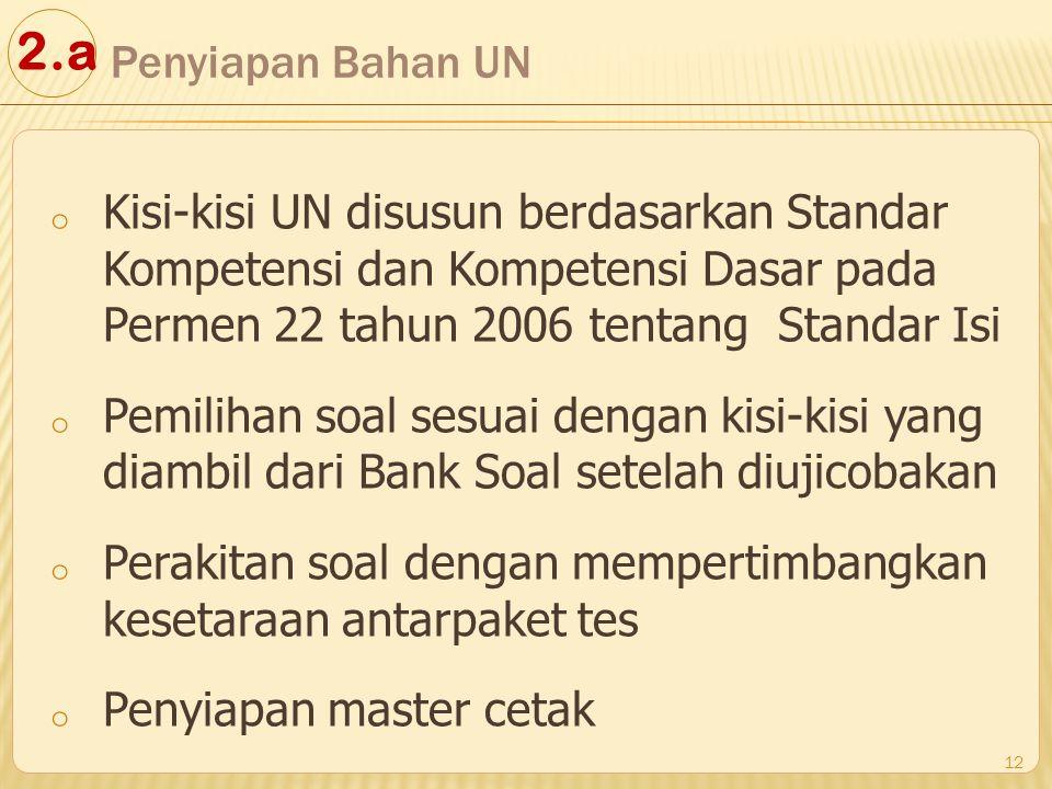 o Kisi-kisi UN disusun berdasarkan Standar Kompetensi dan Kompetensi Dasar pada Permen 22 tahun 2006 tentang Standar Isi o Pemilihan soal sesuai denga