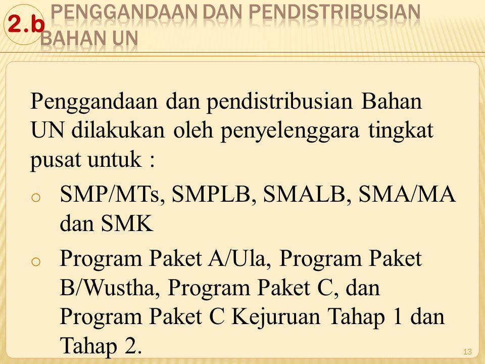 Penggandaan dan pendistribusian Bahan UN dilakukan oleh penyelenggara tingkat pusat untuk : o SMP/MTs, SMPLB, SMALB, SMA/MA dan SMK o Program Paket A/