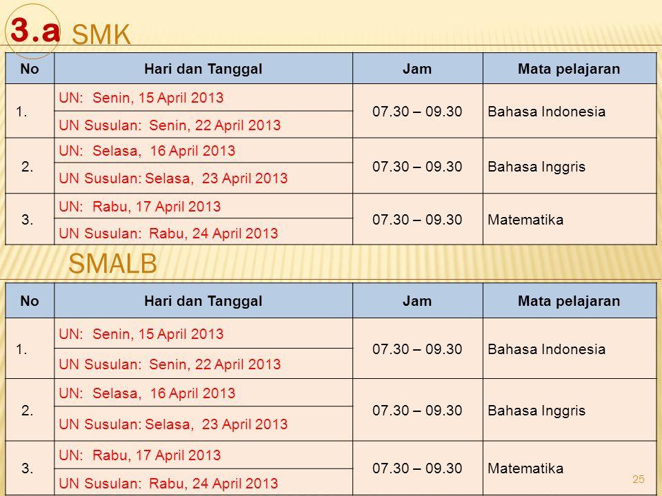 25 NoHari dan TanggalJamMata pelajaran 1. UN: Senin, 15 April 2013 07.30 – 09.30Bahasa Indonesia UN Susulan: Senin, 22 April 2013 2. UN: Selasa, 16 Ap