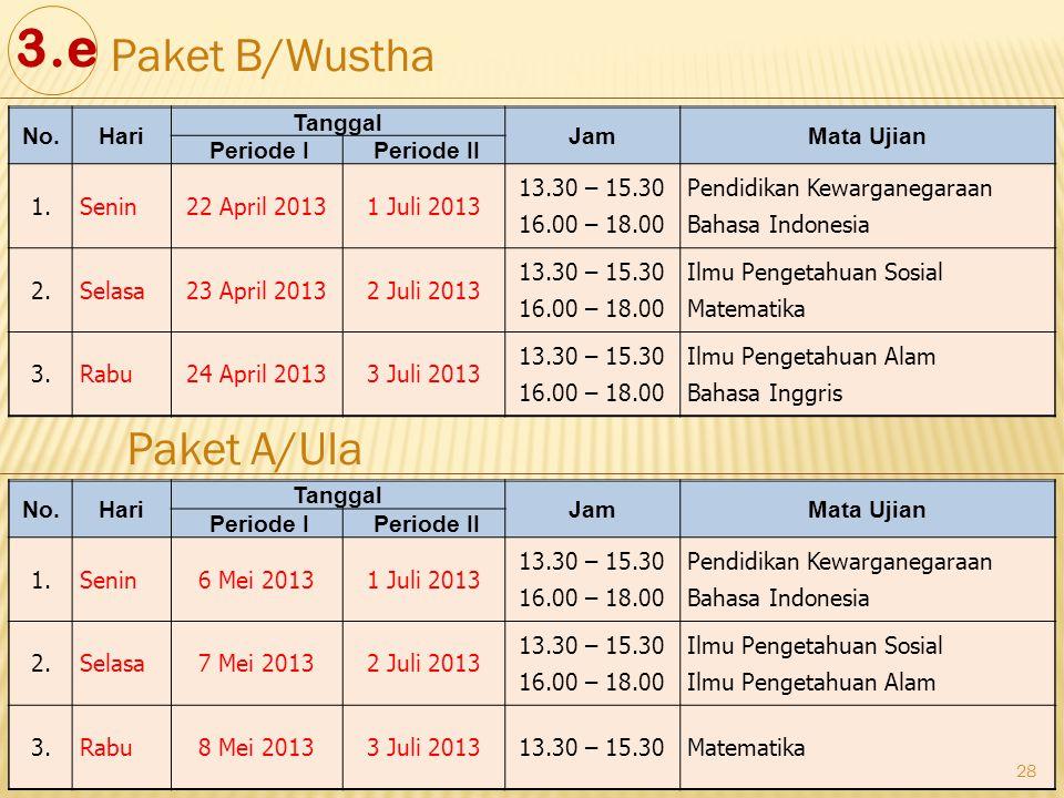 28 No.Hari Tanggal JamMata Ujian Periode I Periode II 1.Senin22 April 20131 Juli 2013 13.30 – 15.30 16.00 – 18.00 Pendidikan Kewarganegaraan Bahasa In