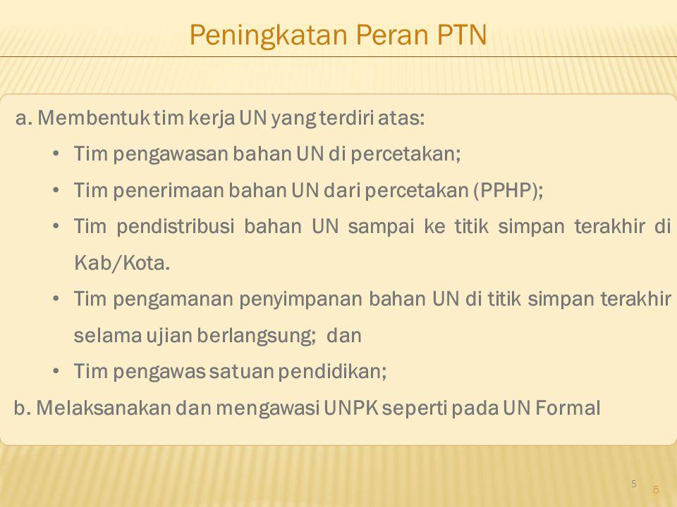 5 Peningkatan Peran PTN a. Membentuk tim kerja UN yang terdiri atas: Tim pengawasan bahan UN di percetakan; Tim penerimaan bahan UN dari percetakan (P