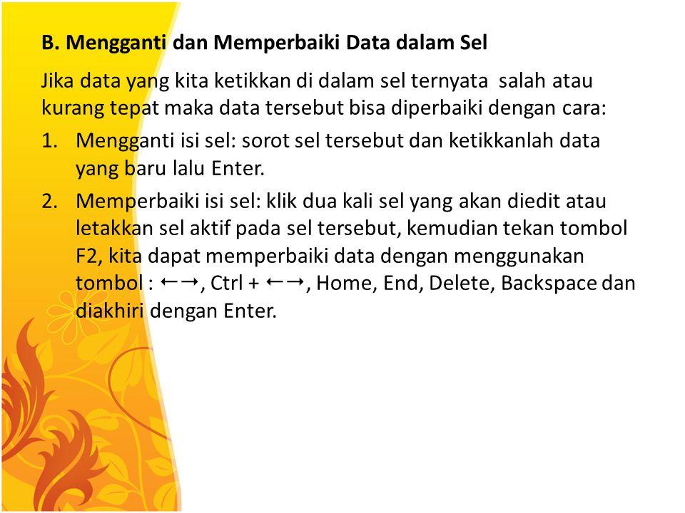 B. Mengganti dan Memperbaiki Data dalam Sel Jika data yang kita ketikkan di dalam sel ternyata salah atau kurang tepat maka data tersebut bisa diperba